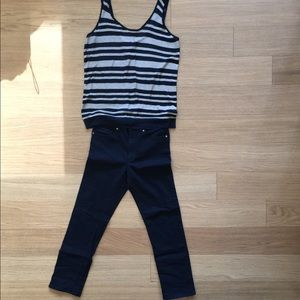 Rag & bone striped top + H&M black ankle jeans s